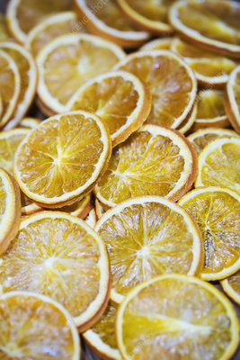 High angle slices of dried oranges