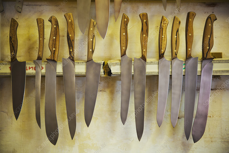 Handcrafted Knives with shaped wooden handles