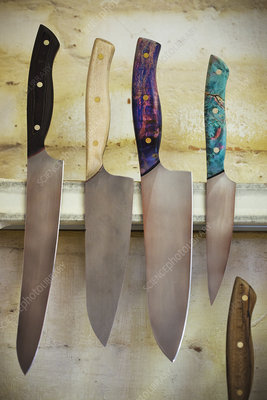 Selection of knives with wooden handles