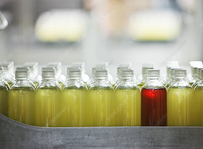 Bottles in a bottling plant, one red bottle