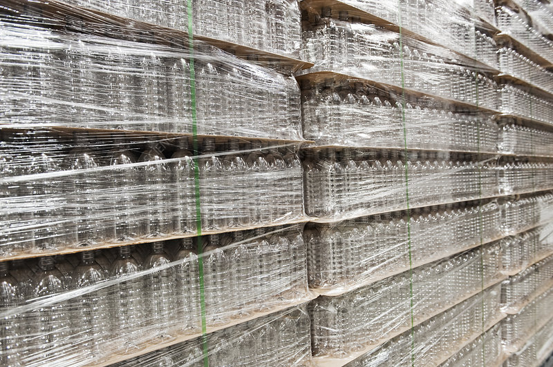 Close-up of pallets of bottled water