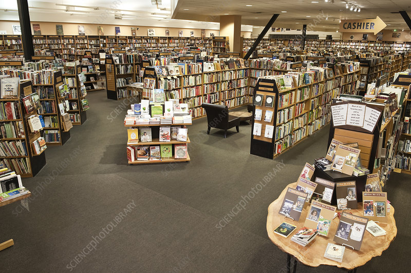 Interior of a large bookstore, racks of books