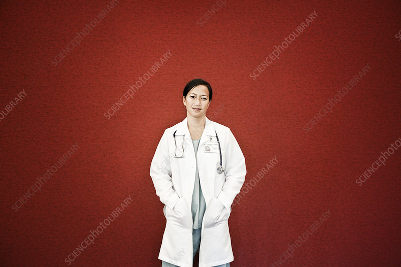 Doctor in lab coat with stethoscope