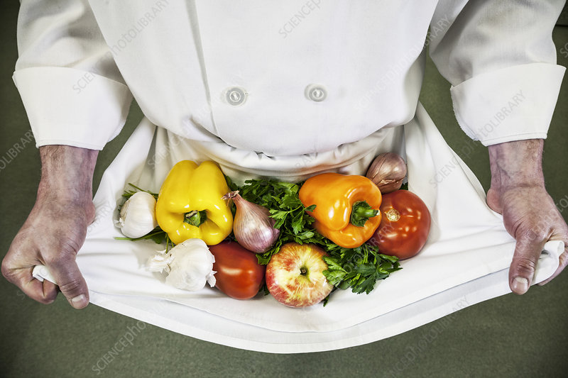 Chef holding fresh vegetables in his apron