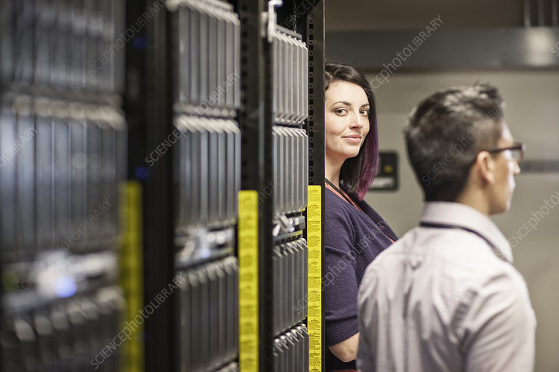 Technician in a large computer server farm