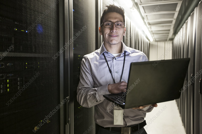 Technician doing tests at a server farm