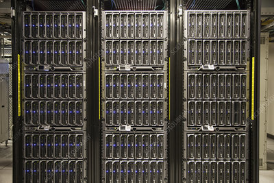 Servers on racks in a large computer server farm