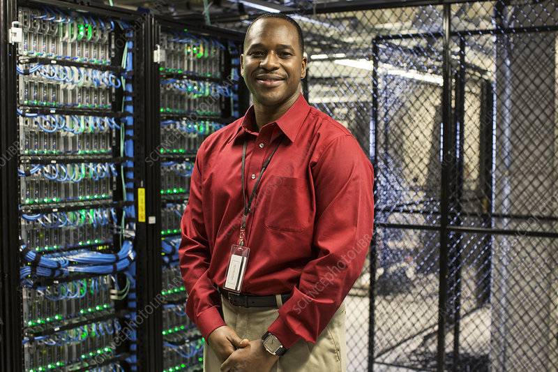 Technician in a computer server farm