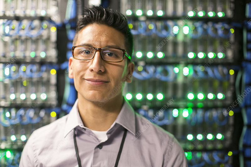 Technician in a large server farm