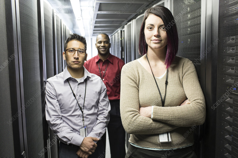 Mixed race technical team in a server farm