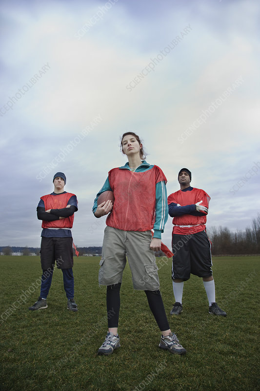 Mixed race members of a team of American football