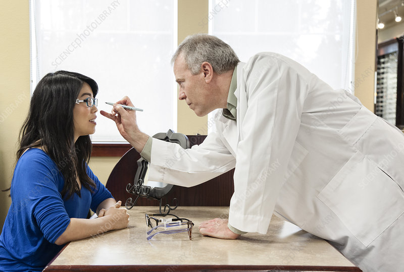 Ophthalmologist and woman client