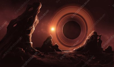 Exoplanet seen from its moon, illustration