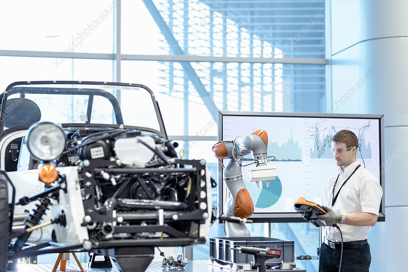 Engineer and robot assembling car