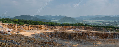 Panoramic view of a gravel mine, Asia