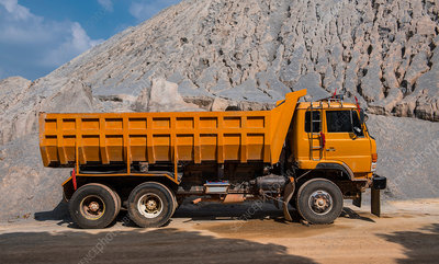 Dump truck at gravel mine, Asia