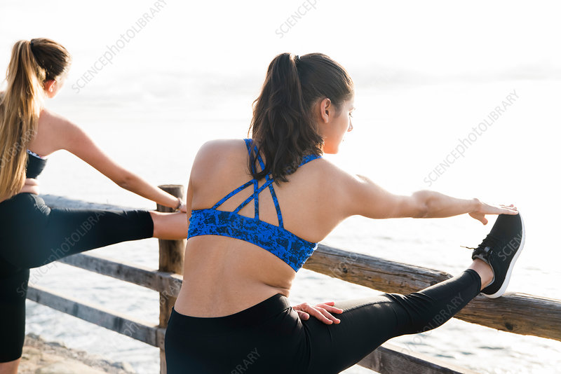 Two young women training on sea waterfront, touching toes