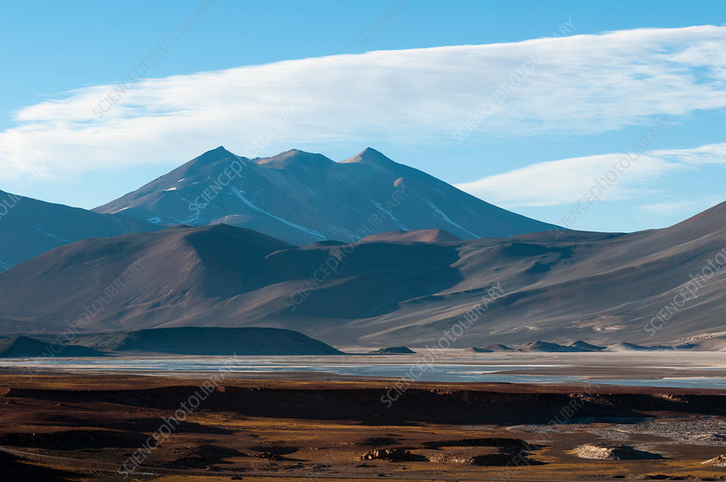 View of mountains and Salar de Talar, Chile