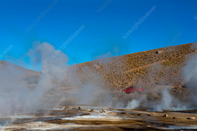 View of steaming El Tatio geyser field, Chile