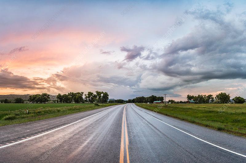 Highway through rural area, Montana, US