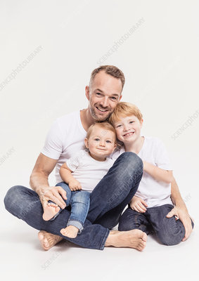 Portrait of father with sons