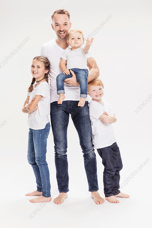 Portrait of father with daughter and sons