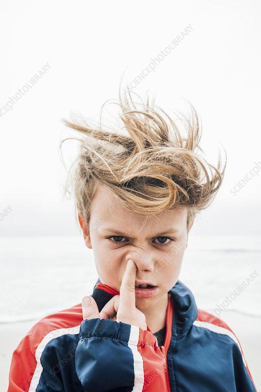 Portrait of boy on beach