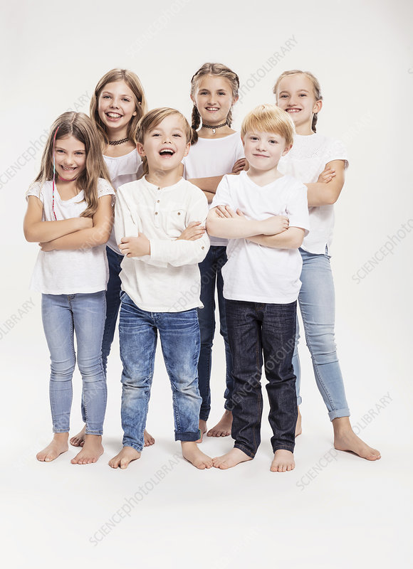 Two boys and four girls with arms folded