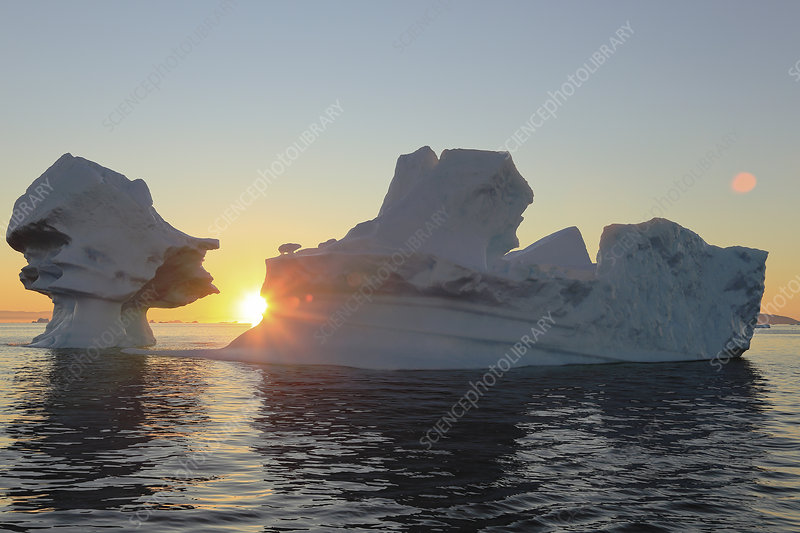 Icebergs from the icefjord at sunset, Greenland