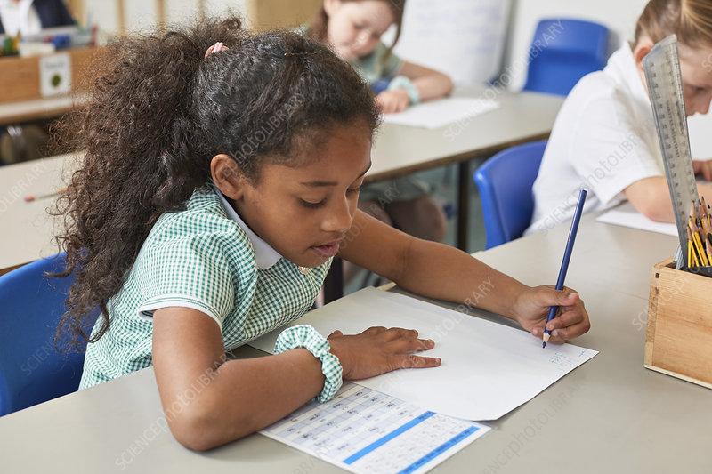 Schoolgirl writing at classroom desk lesson