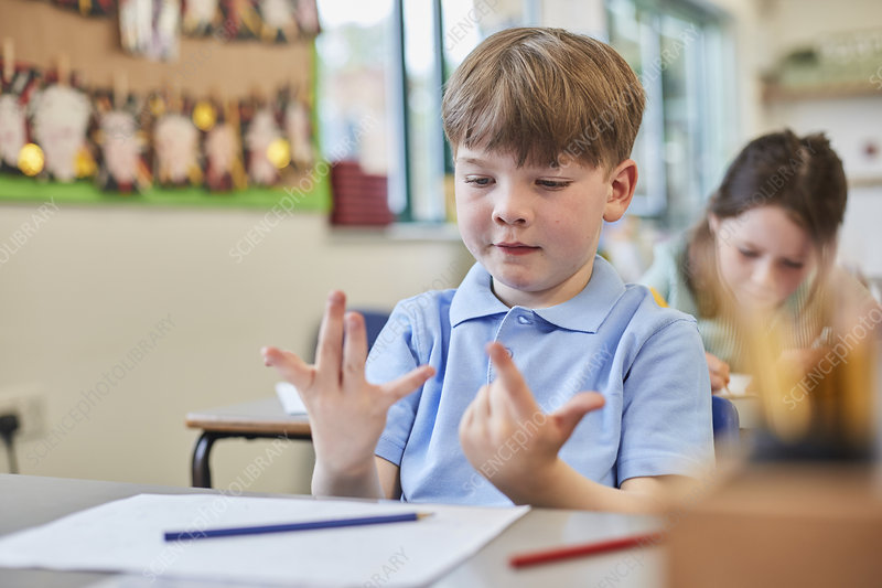 Schoolboy counting with fingers in classroom lesson