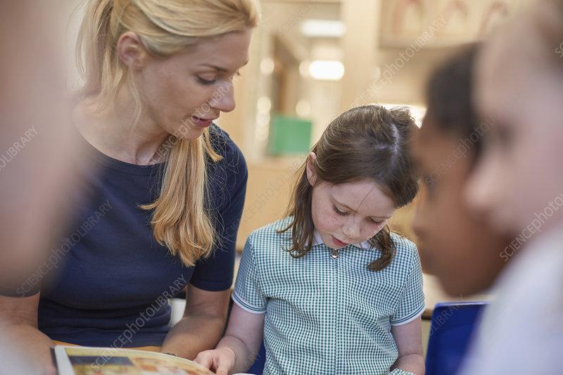 Teacher with schoolgirls reading storybook in classroom