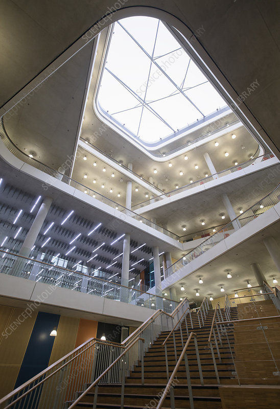 Modern office atrium with skylight