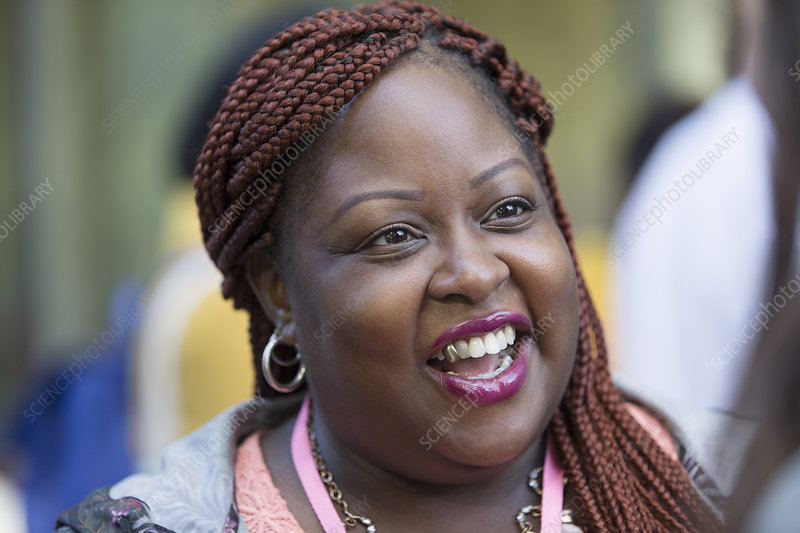 Smiling, happy woman with braids