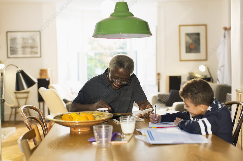 Grandfather with grandson doing homework