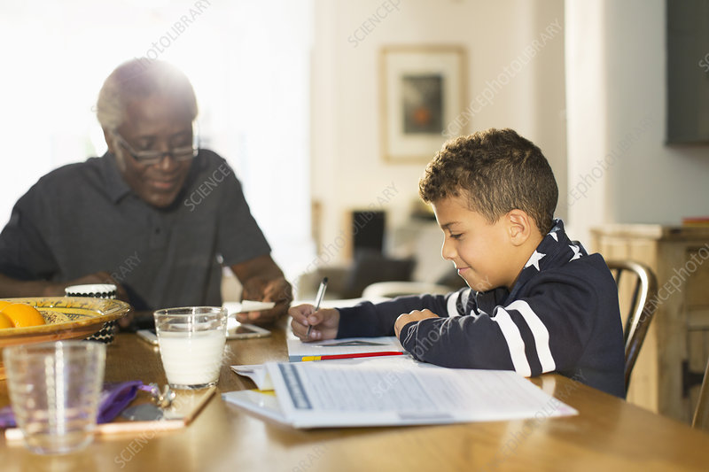 Grandfather at table with grandson doing homework