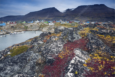 Rocks along remote fishing village, Greenland