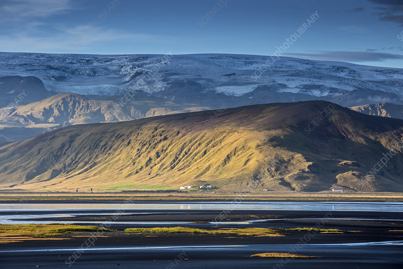 Scenic view of sunny remote landscape, Iceland