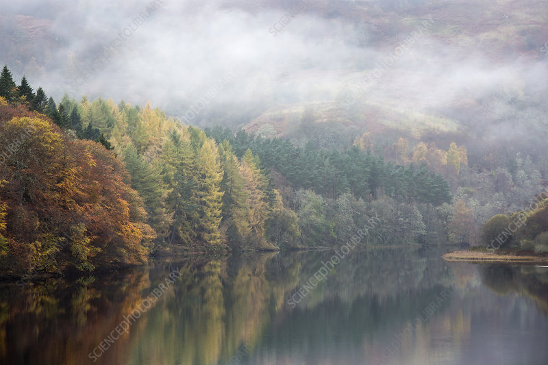 Mysterious fog over lake, Scotland