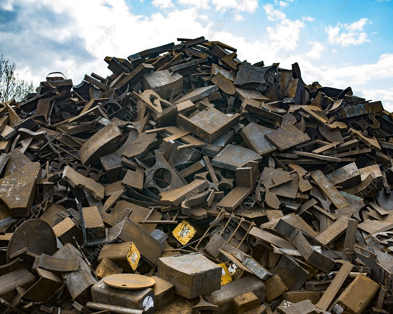 Pile of rusty metal for recycling