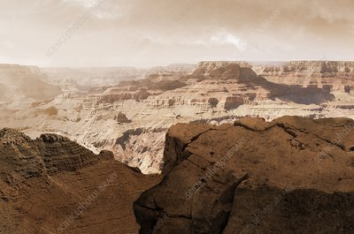 Valles Marineris canyon on Mars, illustration