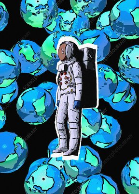 Astronaut and planets, illustration