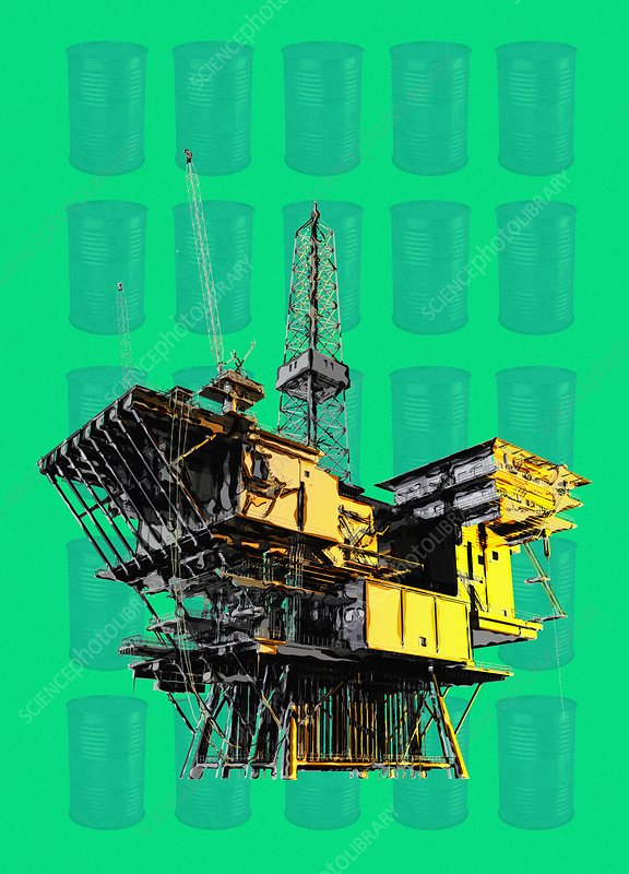 Oil production, conceptual illustration