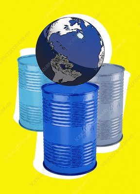Oil barrels and planet earth, illustration