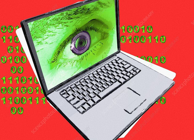 Laptop with human eye recognition, illustration