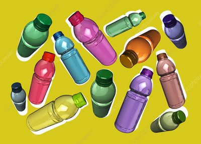 Plastic bottles, illustration