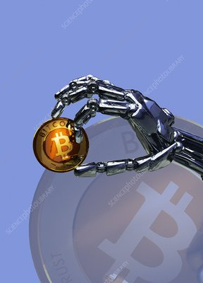 Robotic hand holding bitcoin, illustration
