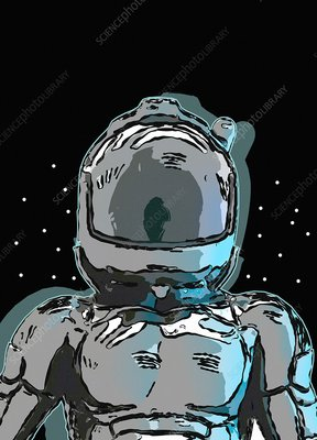 Astronaut in space helmet, illustration