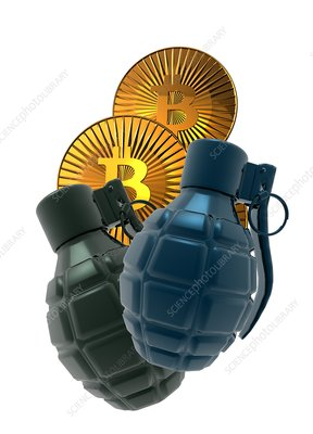 Bitcoins and grenades, conceptual illustration