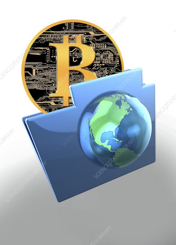 Bitcoin and computer file, illustration